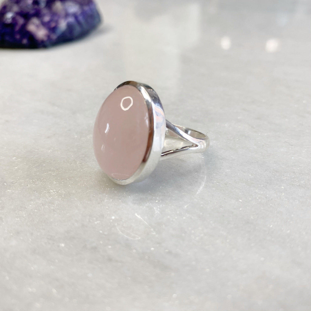 LOVE Ring - Semi Precious Rose Quartz Large Oval Ring