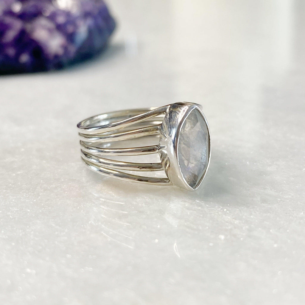 Marquise Rainbow Moonstone Silver Ring