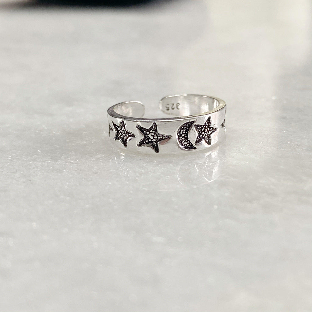 Moon And Stars Silver Toe Ring -NEW