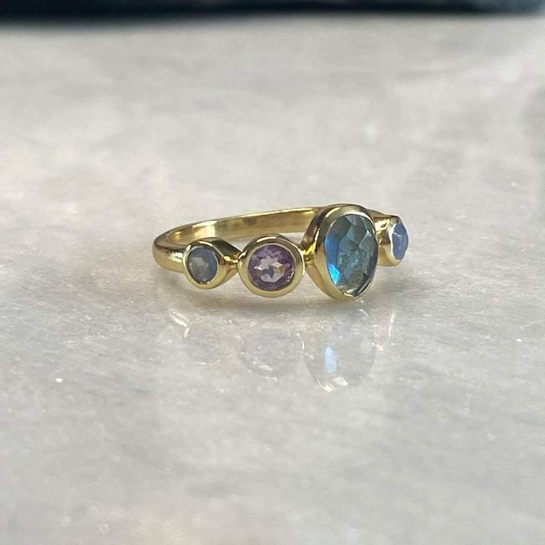 Arcadia Multi Stone 14k Gold Vermeil Ring | Amethyst Gold Ring