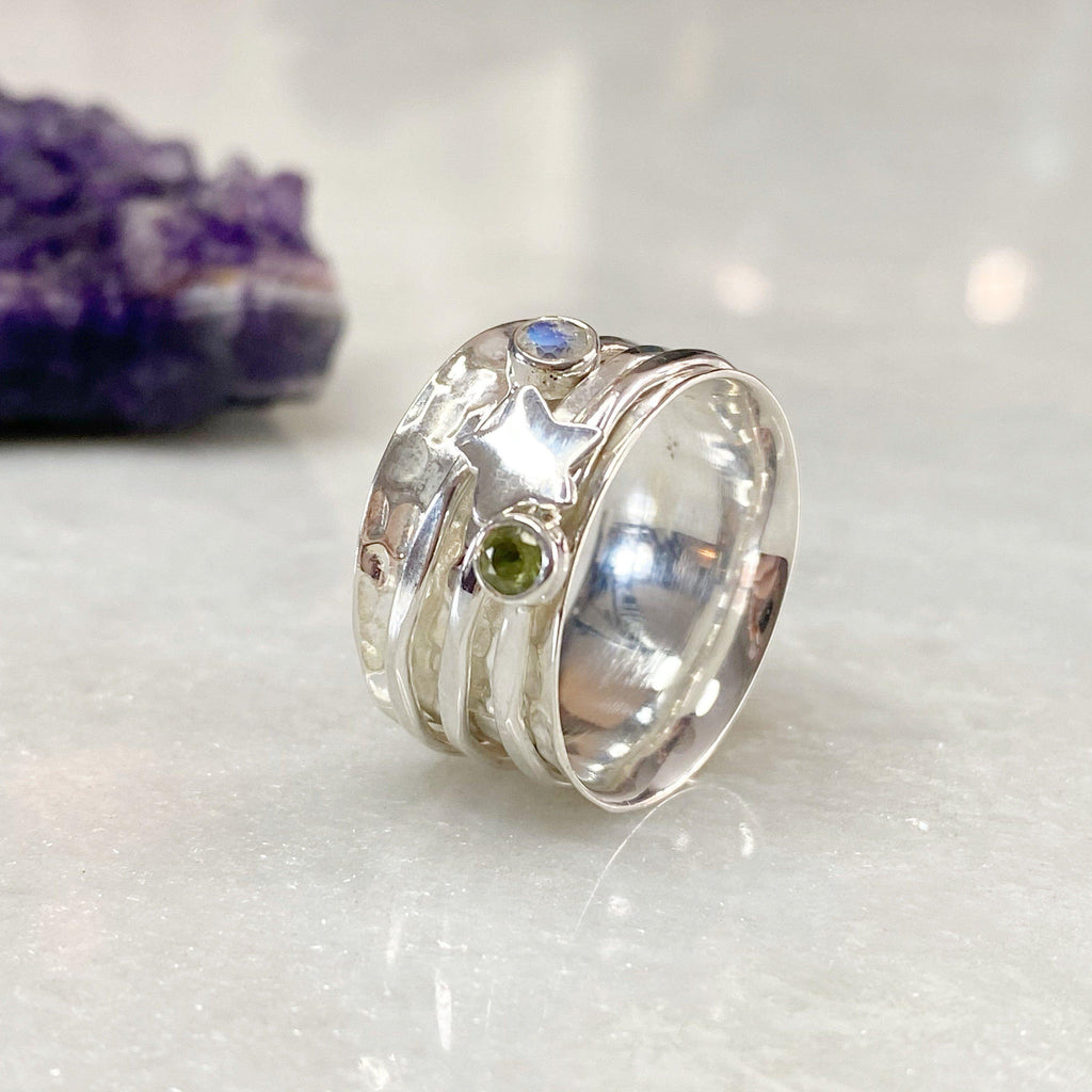 Peridot - Sterling Silver Star And Gemstone Spinner Ring - Moonstone And Peridot