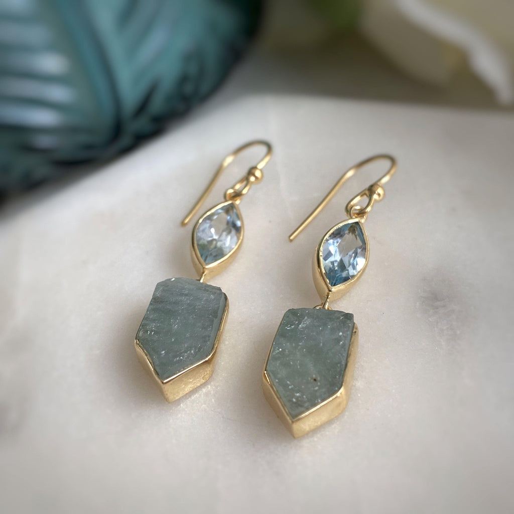 Raw Aquamarine And Topaz Gemstone Earrings