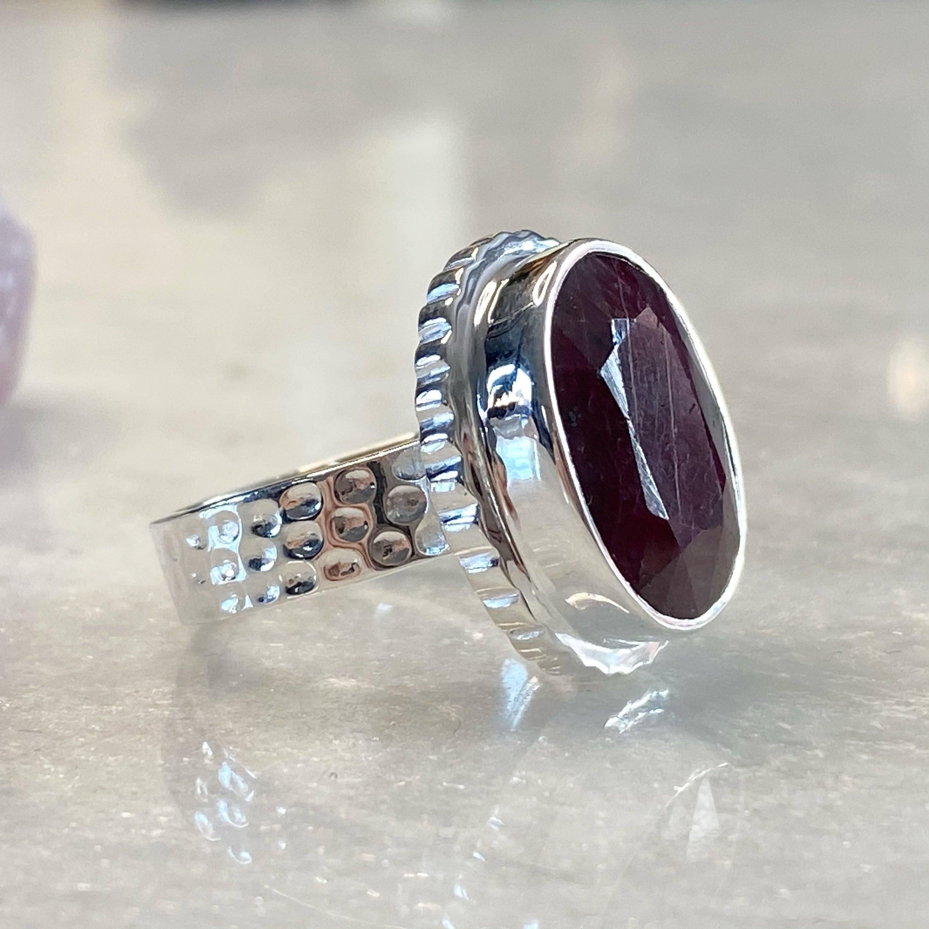 Details about  /Ruby Gf Round Shape Gemstone 925 Sterling Silver Rose Color Ring