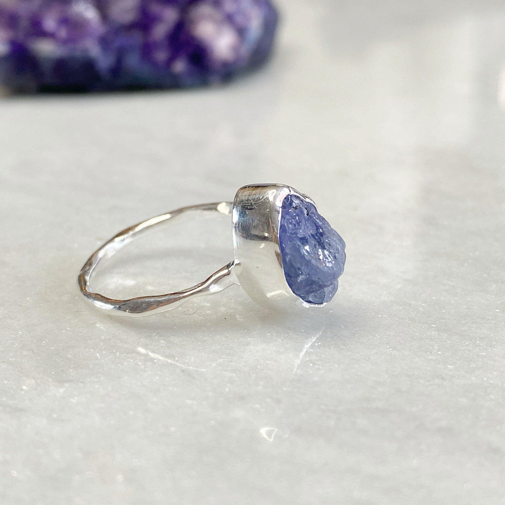 Uncut Natural Tanzanite Gemstone Silver Ring