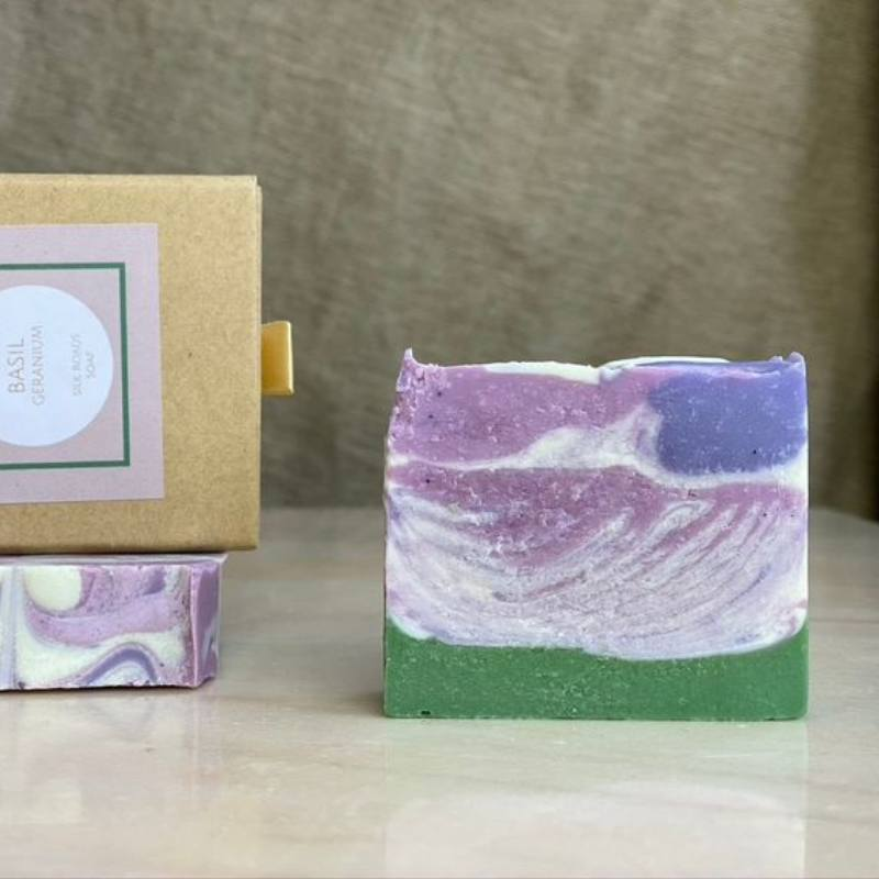 Vegan Artisan Geranium And Basil Luxury Soap Bar