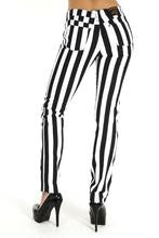 "Ladies Black & White 1"" Striped Mid Rise Stretch Skinny Jeans"