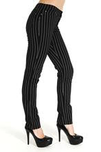 Stretch Black & White Pinstriped Skinny Jeans