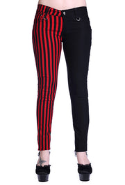 Half black Half Red Striped Skinny Jeans