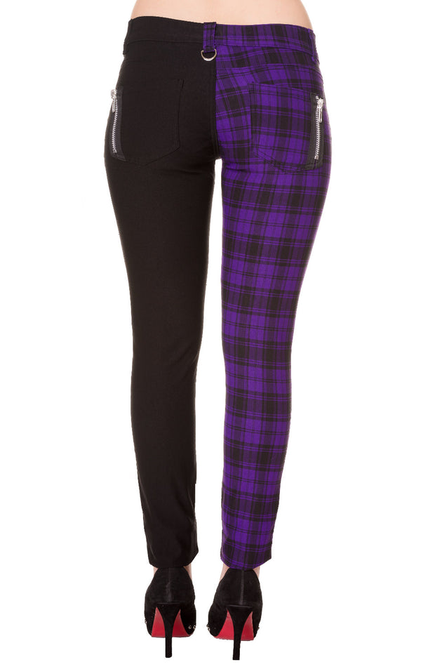 Half black Half Purple Check Skinny Jeans
