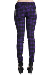 Purple Check Skinny Jeans