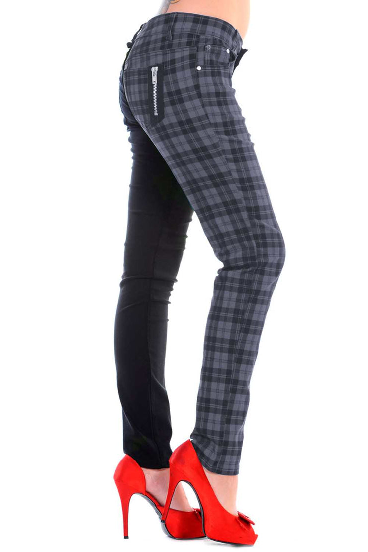 Half black Half Grey Check Skinny Jeans