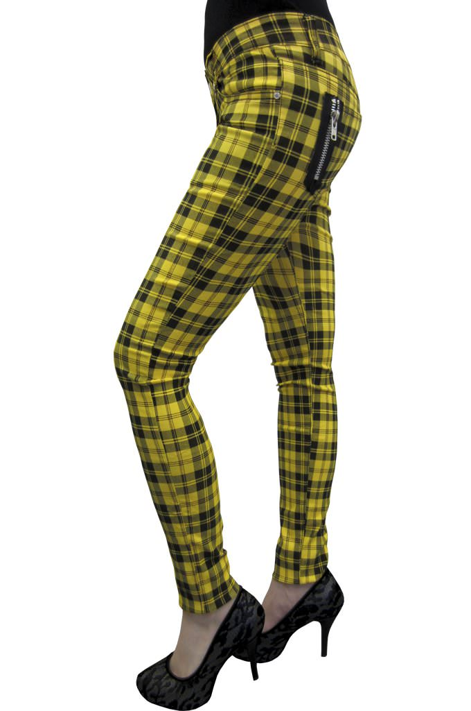 Yellow Check Skinny Jeans
