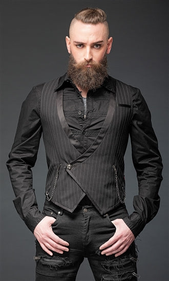 Elegant Pinstriped Vest With Pockets And Chains