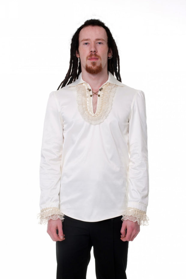Cream Steampunk Cross Pins Shirt