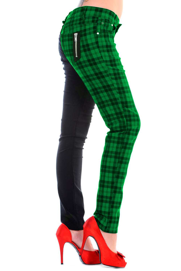 Half black Half Green Check Skinny Jeans