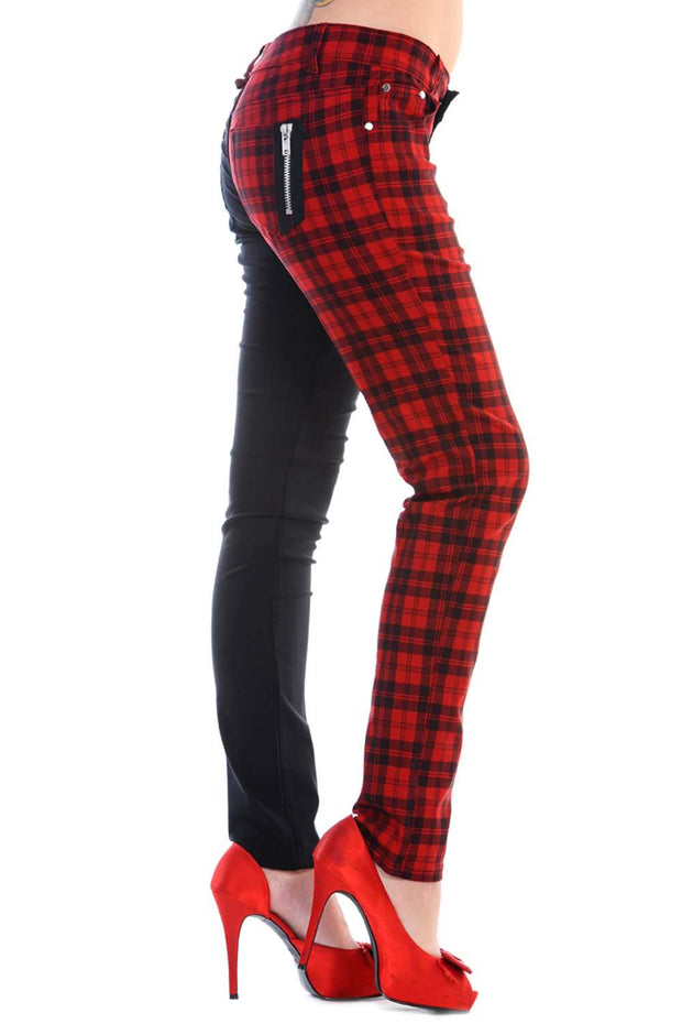 Half black Half Red Check Skinny Jeans