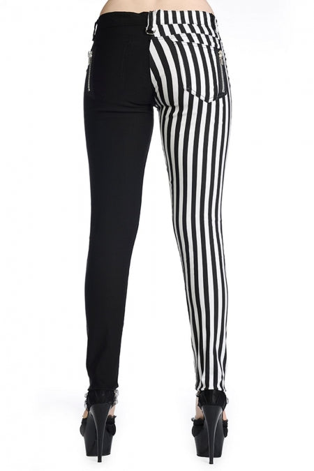 Half black Half White Striped Skinny Jeans