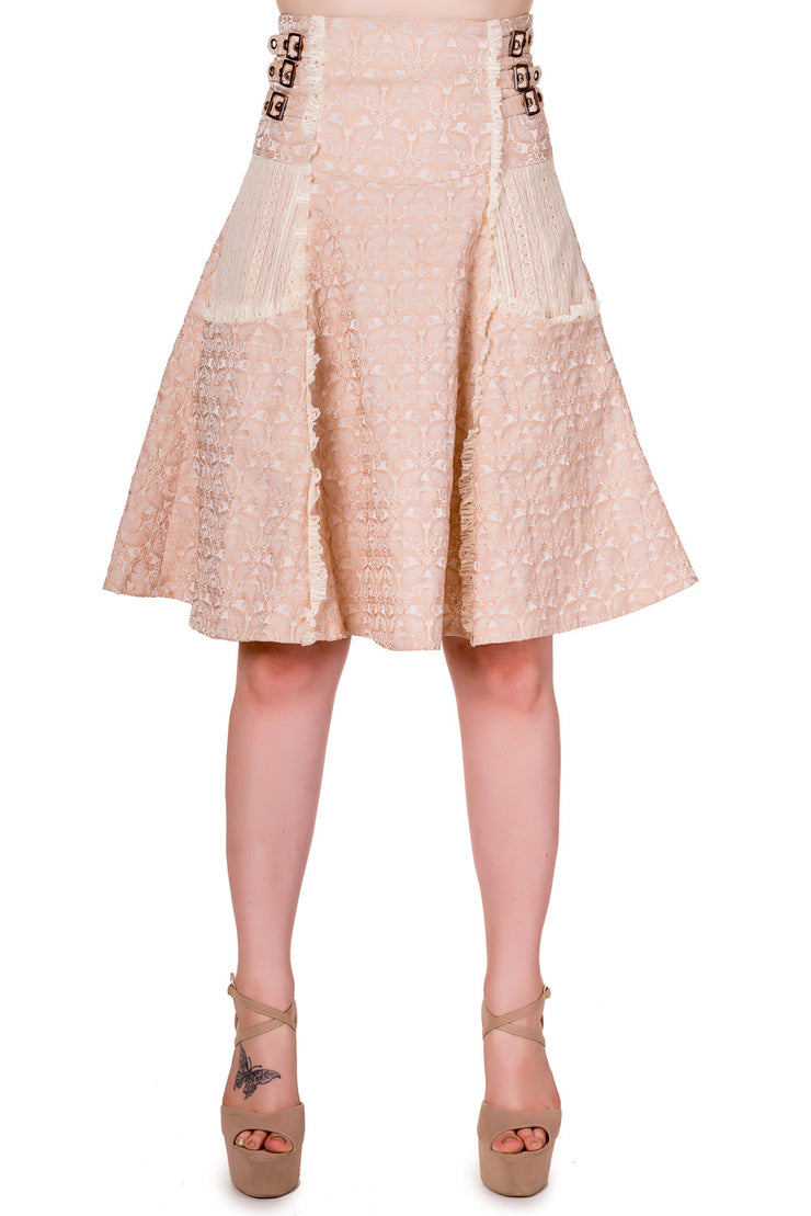 Rise of Dawn Steampunk Skirt Beige