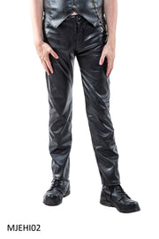 Faux Leather Button Fly Jeans