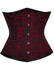 Red Brocade Waist Training Steel Boned Underbust