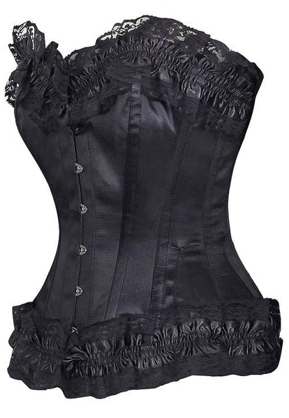 Burlesque Frilly Black Satin Overbust