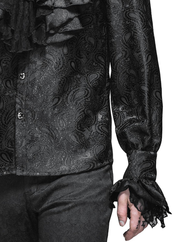 Black Brocade Aristocratic Shirt