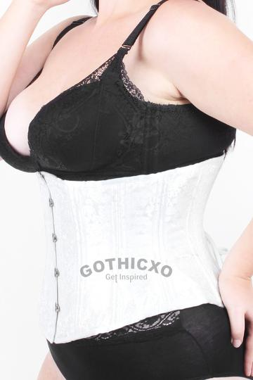 Waist Trainer in White Brocade