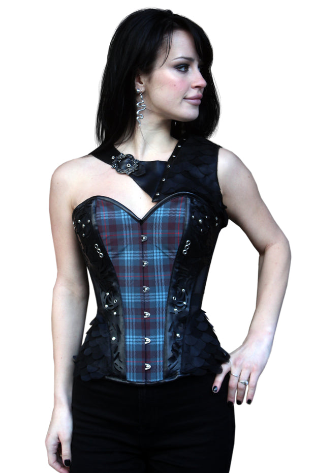 Plaid Print Mesh Overbust with Shrug
