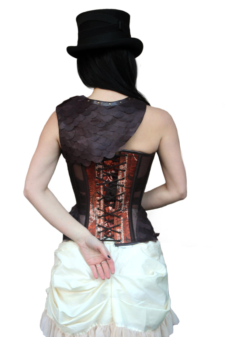 Steampunk Print Mesh Corset with Shrug