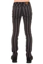 "Black & Grey 1"" Striped Mid Rise Stretch Skinny Jeans"