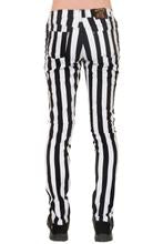 "Black & White 1"" Striped Mid Rise Stretch Skinny Jeans"