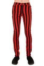 "Black & Red 1"" Striped Mid Rise Stretch Skinny Jeans"