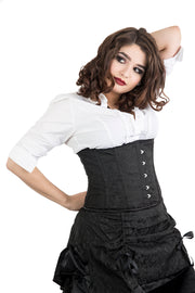 Black Brocade Steel Boned Underbust