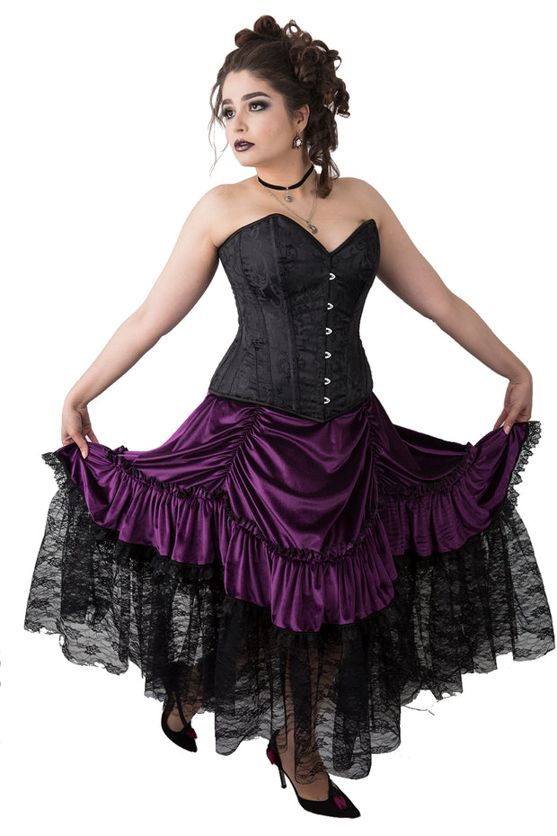 Elegant Black Brocade Steel Boned Overbust