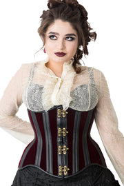 Deep Red Velvet Steampunk Underbust