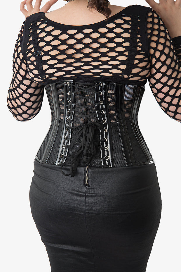 Black PVC Mesh Waist Training Underbust