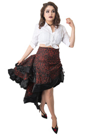 Red Brocade Layer Bustle Skirt