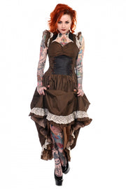 Brown Black Striped Victorian Dress