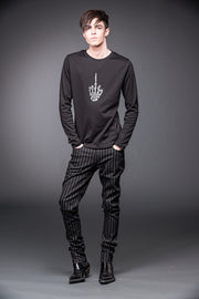 Black & Grey Pinstriped Pants