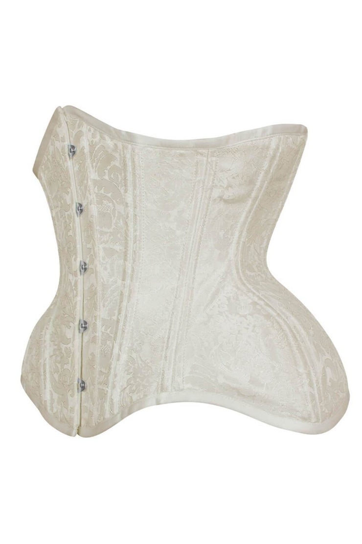 Curvy Waist Trainer in Ivory Brocade