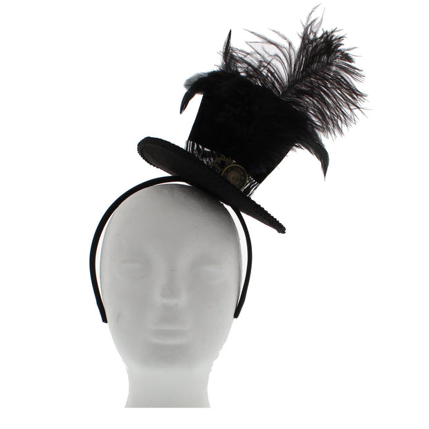 Black Top Hat Fascinator on Aliceband with Clockface & Feathers