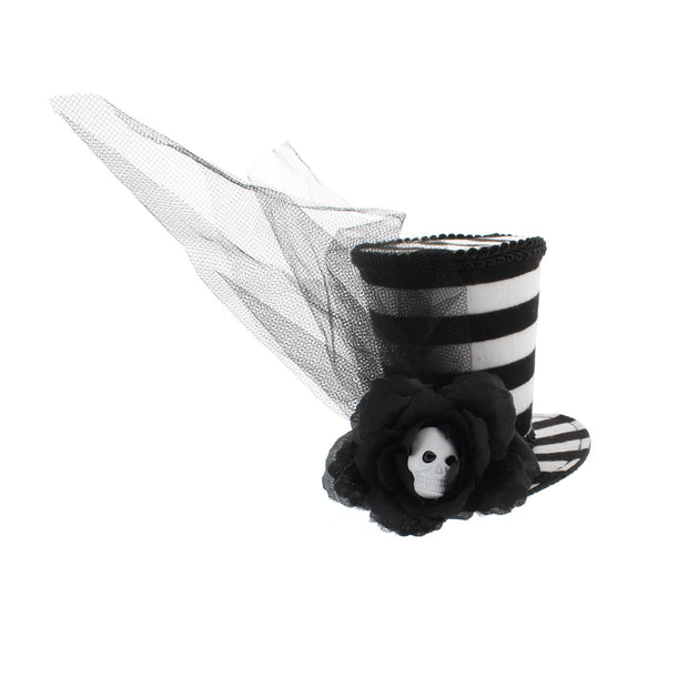 Black & White Striped Top Hat Fascinator with Skull Centered Rose & Veil