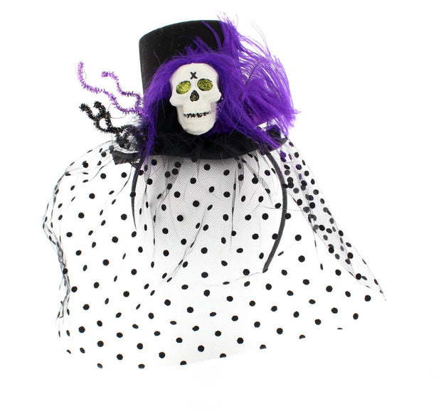 Halloween Top Hat Fascinator with Veil, Purple Feather & Large Plastic Skull