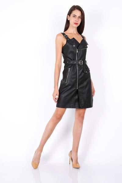 Faux Leather Biker Belted Dress