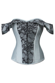 Overbust Cold Shoulder Grey Cotton Corset
