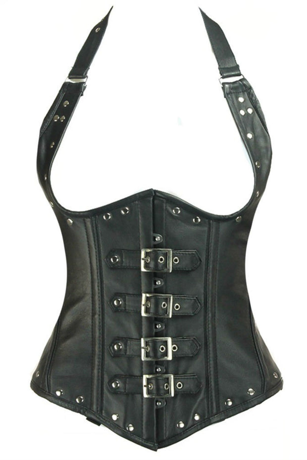 Van Helsing Halterneck Black Leather Underbust