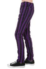 Black & Purple Striped Skinny Jeans
