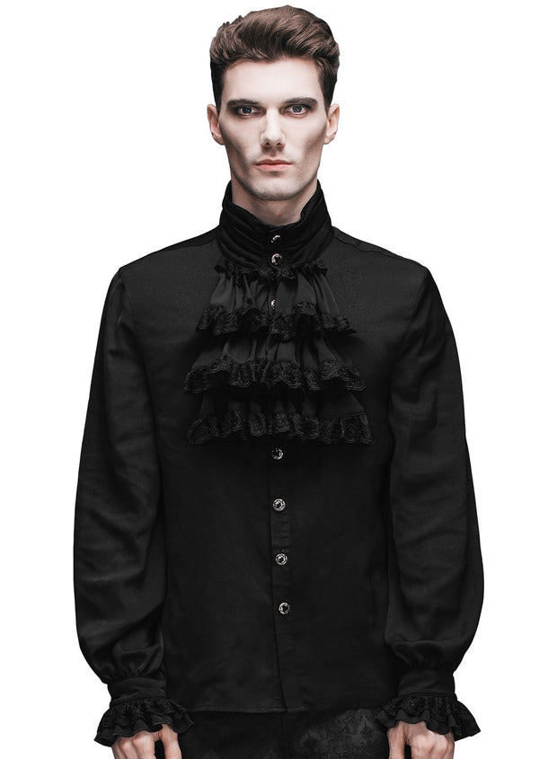 Black Lace Frilly Shirt