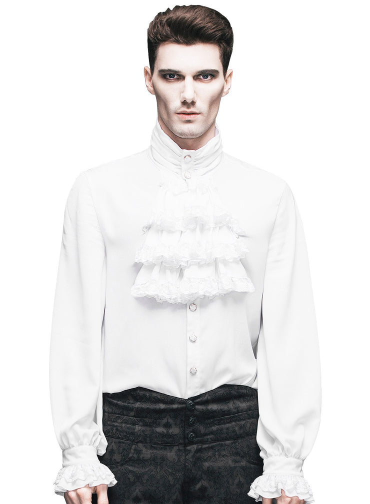 White Lace Frilly Shirt