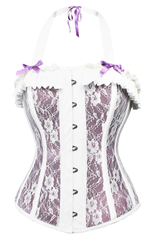 Lace Overlay Mesh Corset With Halter Neck